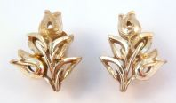 Vintage Golden Tulip Clip On Earrings By Jewelcraft.